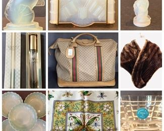 Fabulous Gucci Weekender Travel Bag, Gucci Perfume, Vintage Tiffany Bank, Vintage Victorian Style Loveseat, Tiffany Glass Vase, Antique Matchbox, Vintage Steck Piano, Sabino Paris Collectibles, New Silk Gucci Scarf, Rare Fire King Bubble Bowls, 2 Vintage Copper Pots With Stand, Lots Of Vintage Pyrex & MORE!