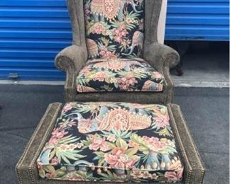 Unique Arm Chair and Ottoman