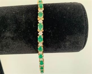 14K Emerald Diamond Bracelet