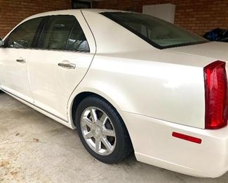 2008 Cadillac STS, 60,612 miles, sunroof, V 8, heated seats, under carport since purchase, diamond white