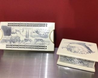 Etched cribbage set