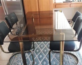 Glass Top Dining Set with Four Chairs