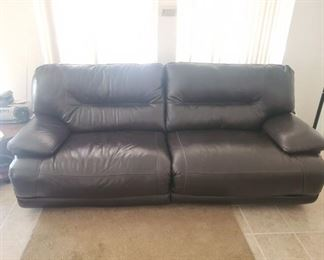 Leather electric double wide reclining sofa