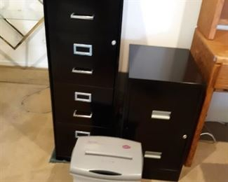 File cabinets and shredder