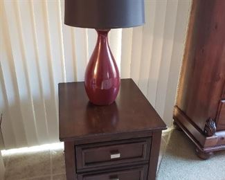 Mid century modern file cabinet nightstand and lamp