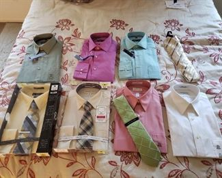 Seven new mens dress shirts and four ties
