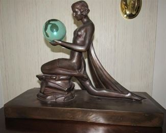 Large Art Nouveau bronze nude with gazing ball
