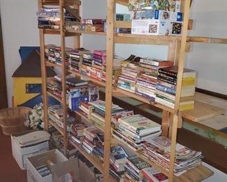 wood shelving & books