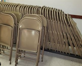 Rolling storage cart for folding chairs, total of 50 chairs. Asking $300 for complete set with cart or $5/chair and $85 for cart