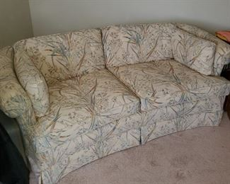 PAIR of curved loveseats