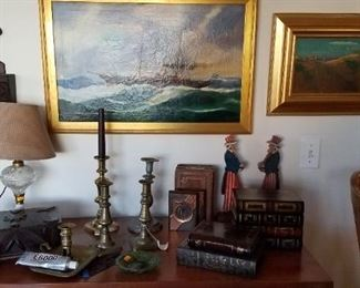 Nice ship painting, Firtzpatrick beach painting, candlesticks and more.