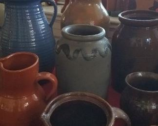 N.C. pottery, blue decorated stoneware crock and many other.