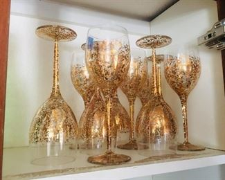 10 Gold Speckled Wine Glass Set