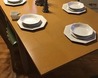 Midcentury fold down table top w/6 chairs 60% off.     Sears Harmony House Octagon dishes 6 place setting