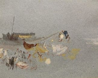 "Painted 1820's given to artist's landlady.  ""Fisherman on the Shore""; watercolour and bodycolor on blue wove paper; exhibited Toronto Art Gallery 1995"
