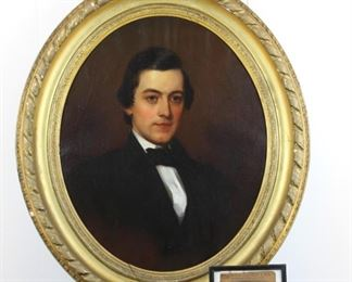 "Sitter ""Nicholas Coleman"", canvas stamped ""VE KELLEY ARTIST COLORMAN"" 18 South Street, Philadelphia"".  Original carved giltwood frame with rope-carved border.  Professionally cleaned by the Smithsonian Institution.  NOTE:  Nicholas Coleman was a wheelwright working outside of Philadelphia who got scalped by Indians while testing one of his wagon wheels."