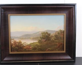 "WILLIAM LOUIS SONNTAG (Am., 1822-1900). ""Mountainous Landscape"" depicting panoramic landscape views with body of water and small figures.  Descended through family."