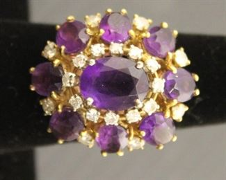 Korol 18K Gold Amethyst Diamond Ring Size 7 10g