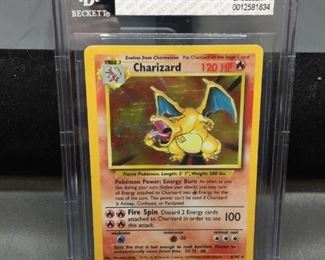 BGS Graded 1999 Pokemon Base Set Unlimited CHARIZARD Holofoil Rare Trading Card - EX+ 5.5