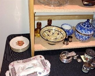 Pickard fruit plates, amber moon and stars candle stick holders, Asian bowls, Haviland two piece covered dish.