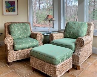 """Item 138:  (2) Woven rattan chairs and ottoman with cushions :                                                                                           Chairs with cushions - 38""""l x 36""""w x 36""""h: $325 each                                                                            Ottoman with cushion - 27""""l x 21""""w x 17""""h: $175"""
