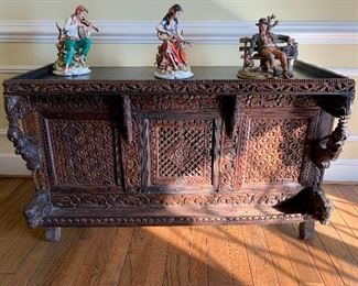 "Ornately carved desk. 49"" (L) x 25""(D) x 30.5"" (H)  See next picture for back side of desk"