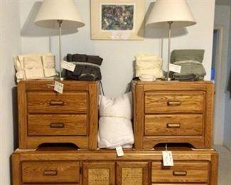 2 Oak Night Stands and Oak Dresser