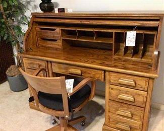 Small Roll Top Desk,  Desk Chair