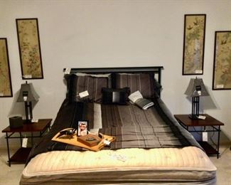 Queen Black Metal Headboard & Frame, Sleep Number Mattress on a Serta motorized frame that lifts & lowers head and foot of the bed
