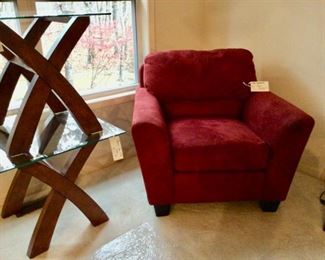 2 Stacked End Tables, Red Easy Chair