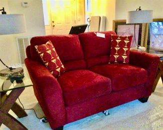 Love Seat & 2 More End Tables, 2 Table Lamps