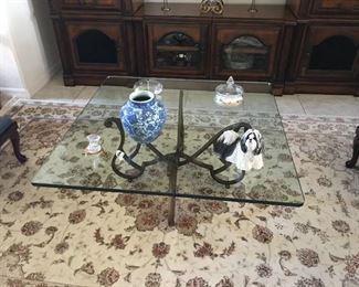 """Beveled glass top table with metal base. 38"""" square x 17"""" tall.  The beautiful rug in beige, cream & maroon measures 8.5' x 5.5' . $85"""