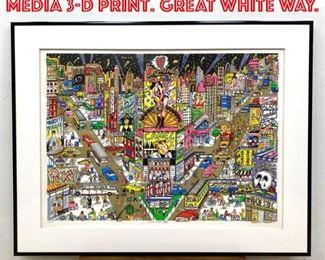 Lot 2001 CHARLES FAZZINO Mixed Media 3D Print. GREAT WHITE WAY.
