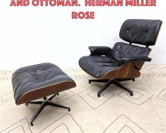 Lot 2003 EAMES 670 Lounge Chair and Ottoman. Herman Miller rose