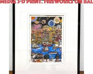 Lot 2002 CHARLES FAZZINO Mixed Media 3D Print. FIREWORKS ON BAL