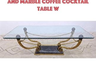 Lot 2005 Decorator Gilt Metal and Marble Coffee Cocktail Table w