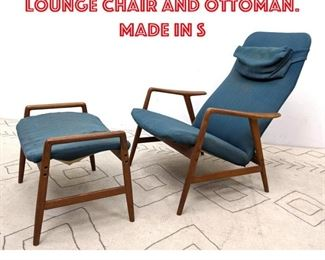 Lot 2006 Swedish Modern Teak Lounge Chair and Ottoman. Made in S