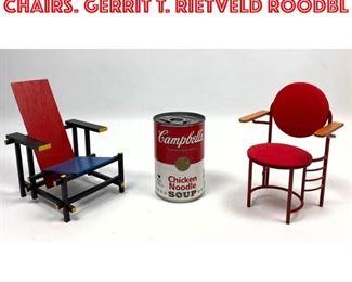 Lot 2009 2 pcs VITRA Miniature Chairs. Gerrit T. Rietveld Roodbl