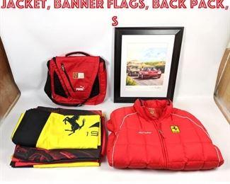 Lot 2010 Ferrari Memorabilia. Jacket, Banner Flags, Back Pack, S