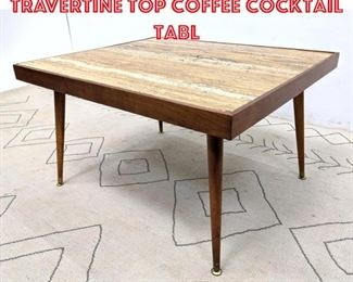 Lot 2011 Mid Century Modern Travertine Top Coffee Cocktail Tabl