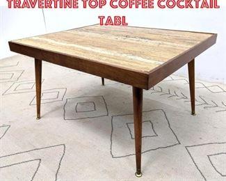 Lot 2011 Mid Century Modern Travertine Top Coffee Cocktail Tabl