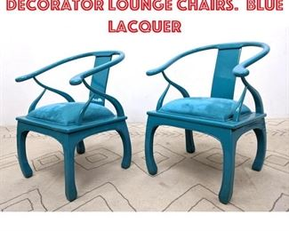 Lot 2015 Pair Asian Style decorator Lounge Chairs. Blue Lacquer