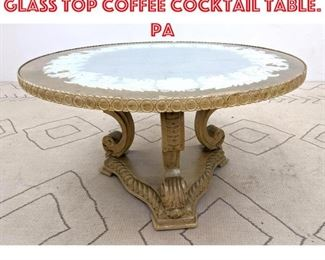 Lot 2016 Decorator Eglomise Glass Top Coffee Cocktail Table. Pa