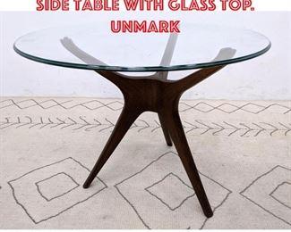 Lot 2020 Vladimir KAGAN Tripod Side Table with Glass Top. Unmark