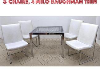Lot 2025 5pc Chrome Dining Table Chairs. 4 Milo Baughman Thin