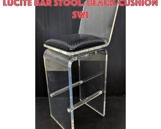 Lot 2026 Single molded clear Lucite Bar Stool. Black cushion swi