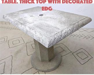 Lot 2029 Cast Stone Pedestal Table. Thick top with decorated edg