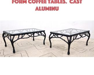 Lot 2031 Pair Decorator Branch Form Coffee Tables. Cast Aluminu
