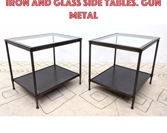 Lot 2033 Pair Contemporary Iron and Glass Side Tables. Gun metal
