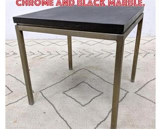 Lot 2035 Knoll Style Side Table. Chrome and Black Marble.